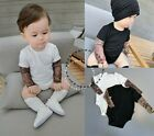 Внешний вид - Kids Toddler Baby Fashion Tattoo Arm Mesh Sleeve 6-24M Romper 18M-6Y T-Shirt