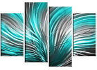 "silver grey turquoise abstract canvas picture 4 panel wall art 60"" & 40"" options"
