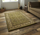 SMALL - EXTRA LARGE GREEN BEIGE TRADITIONAL CLASSIC THICK  LUXURY WOOL-LOOK RUGS