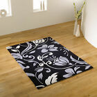 SMALL - EXTRA LARGE BLACK GREY IVORY WHITE / CREAM THICK QUALITY SOFT DAMASK RUG
