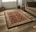 SMALL - EXTRA LARGE RED BEIGE TRADITIONAL CLASSIC THICK  LUXURY WOOL-LOOK RUGS