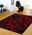 SMALL - EXTRA LARGE BLACK & RED MODERN DAMASK AREA FLOOR RUG - DISCOUNT PRICE