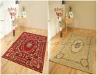 SMALL TO LARGE ORIENTAL TAPESTRY STYLE THIN RUG, BEIGE OR DARK BURGUNDY RED