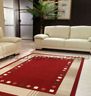 SMALL - EXTRA LARGE DARK BURNT RED & BEIGE BORDER MODERN FLOOR RUG MAT