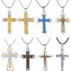 Fashion Mens Women Stainless Steel Necklace Cross Crucifix Pendant Chain Jewelry