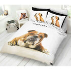British Bull Dog Duvet Cover with Pillow Case in Brown & Beige - Reversible
