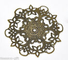 Wholesale Lots Gift Bronze Tone Filigree Flower Wraps Connectors 55mm