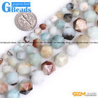 Natural Multi-Color Amazonite Gemstone Polygonal Faceted Round Beads String 15""