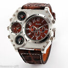 OULM Watch Men Luxury Dual Time Quartz Leather Compass Thermometer Wristwatch
