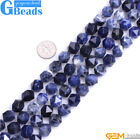 Natural AAA Grade Blue Sodalite Jasper Gemstone Polygonal Faceted Round Beads