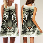 Summer Lady's Tiger 3D Printed Short Dress Straight Mini Holiday Dress For Women