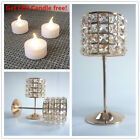 Large Crystal Copper Golden Candle Holders Tea Light Wedding Table Centerpieces