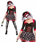 Womens Day of the Dead Fancy Dress Costume Outfit Mexican Halloween Veil Ladies