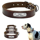 Real Leather Personalized Dog Collars for Small Medium Large Dogs Engraved Brown