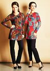 TUNIC LONG CASUAL CAREER STRETCH LONG SLEEVE MADE IN EUROPE PRINTED S M L XL 2XL