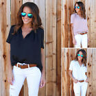 FASHION WomenS Summer Casual Tops Blouse LOOSE Short Sleeve LADY V Neck T-Shirt