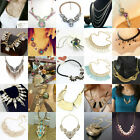 New Women Crystal Bib Charm Pendant Chain Jewelry Statement Necklace