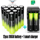 12Pcs 18650 3.7V Battery Rechargeable Li-ion Battery + Charger For Flashlight d