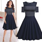 Women's Vintage Stripe Casual Outdoor Cocktail Party Business A-Line Flare Dress