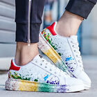 Fashion Mens Colorful Splash-ink Low Top Flat Casual Shoes Sneakers Lace Up