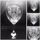 SKULL ROSE engraved, etched set 4 glasses, gift, joining, personalised free
