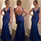 New Women's Straps Lace Backless Long Dress Mermaid Evening Formal Party Dress