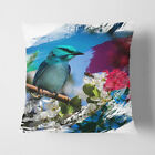 Faux Suede Throw Scatter Cushion Blue Bird and Cherry Blossom Tree V2