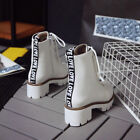 Fashion Winter Ladies Lace Up Round Head Chunky Heel Thick Bottom Ankle Boots.