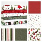 RED & FERN GREEN - MODERN METALLIC CHRISTMAS 100% COTTON FABRIC MAKOWER