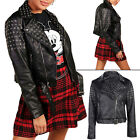Ladies Biker Jacket PU Leather Eyelet Design Belted Women Slim Fit 8 10 12 14 16