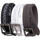 Crosshatch Mens Hitching Designer Perforated PU Leather Metal Buckle Belt