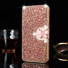 Crystal Bling Diamond Flip Leather Case Wallet Cover For iPhone& Samsung Galaxy