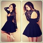 Women Lady Fashion Floral Halterneck Long Sleeve Lace Cocktail Mini Skater Dress