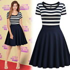 Women's Contrast Striped Casual Party Cocktail Night Out Workwear A-Line Dress