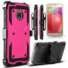 For Motorola Moto E4 2017 Shockproof Case With Kickstand Clip + Screen Protector