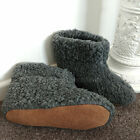 CHARCOAL Pure Sheep Wool Boots Slippers Sheepskin Suede Sole Women's Ladies Mens
