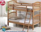 Single Childrens Wooden Bunk Bed - Solid HardWood Maple Bunkbeds -2 Free Pillows