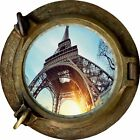 Huge 3D Porthole Eiffel Tower Paris View Wall Stickers Film Art Decal Wallpaper