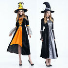 Halloween Women Witch Cosplay Dress Party Props Adult Halloween Costume+Hat New