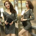 Wrapped V-neck Ruched Women's Skin-tight Sheath Club Party Stretch Bodycon Dress