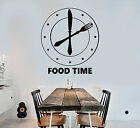 Vinyl Wall Decal Clock Foodstuffs Time Kitchen Funny Decoration Stickers (1641ig)