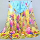 New Fashion Women Ladies Chiffon Gradient Floral Scarf Soft Wrap Long Shawl