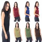 Ladies New Cowl Neck Women Cropped Sleeveless Stretch Plus Vest Dress Crop Top