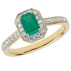 9ct Yellow Gold Emerald & 26pt Diamond Octagonal Cluster Ring Size P PROMOTION