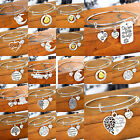 Moon Love Heart Pendant Charms Bangle Family Mother Grandma Sister Bracelet Gift