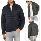 Threadbare Mens Mongrel Stand Designer Funnel Neck Quilted Zip Up Jacket Coat