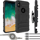EEEKit Rugged Rubber Kickstand Case with Belt-Clip+Charger Cable for iPhone 8