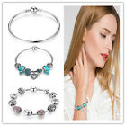 Jewelry 925 Silver Charms Bangle/bracelet Pink Clear Crystals Fit European Charm