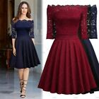 Women Retro 1950s Sexy Elegant Lace Cocktail Prom Evening Club Party Flare Dress