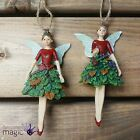 Gisela Graham Resin Fairy Fruit Dress Glitter Hanging Christmas Tree Decoration